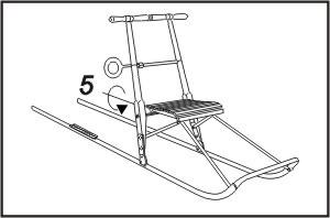 3 faza rozkładania kicksled - dokręcamy śruby stabilizujące krzesełko. Sanki są gotowe do jazdy!