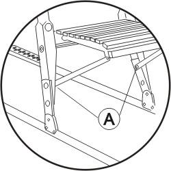 Rozkładanie kicksled- widok właściwie podpartego za pomocą wsporników krzesełka sanek